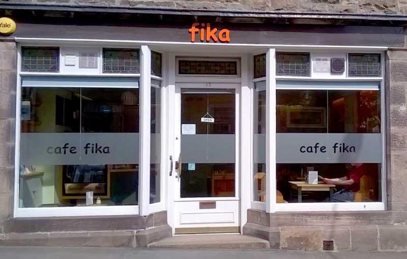 Café Fika shop front in Forres