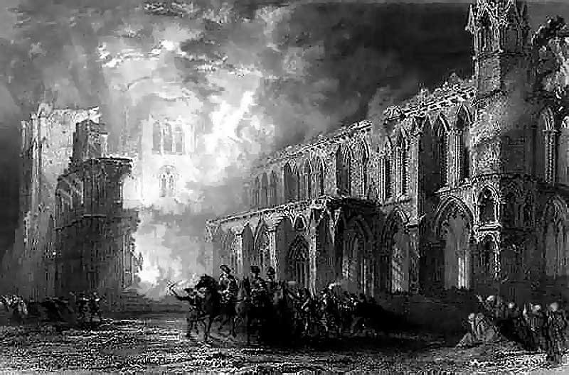 19th Century depiction of the Cathedral ablaze, caused by the infamous Wolf of Badenoch