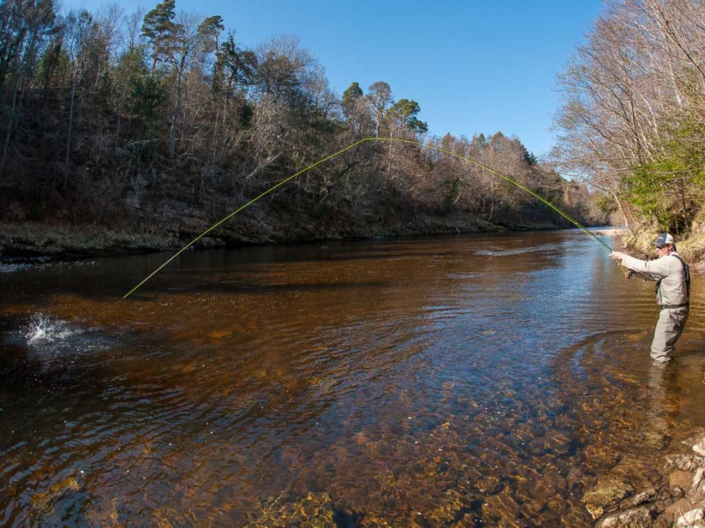 Guided Salmon Fishing In Moray - casting in a river