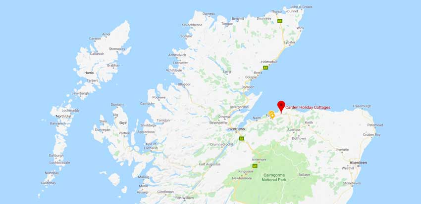 Location of Carden, Moray, Scotland